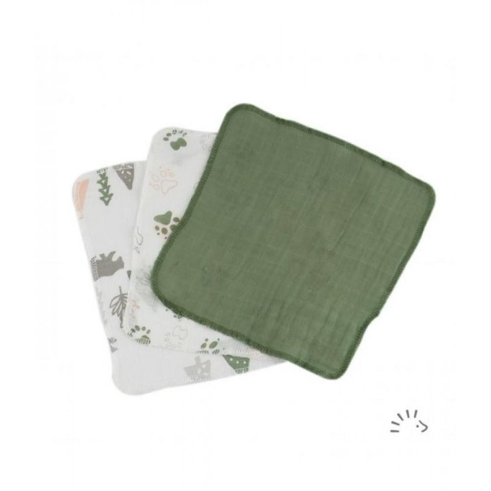 Popolini - 3 vaskeklude muslin - grønlige nuancer