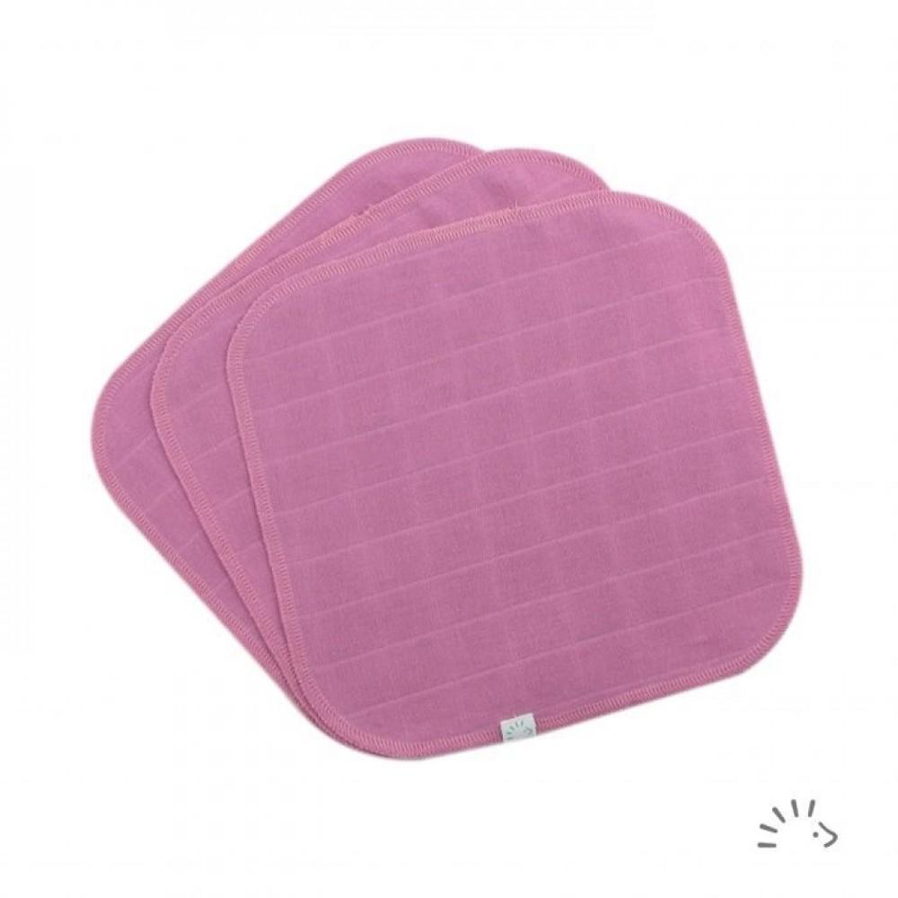 Popolini - 3 vaskeklude muslin - tulip pink