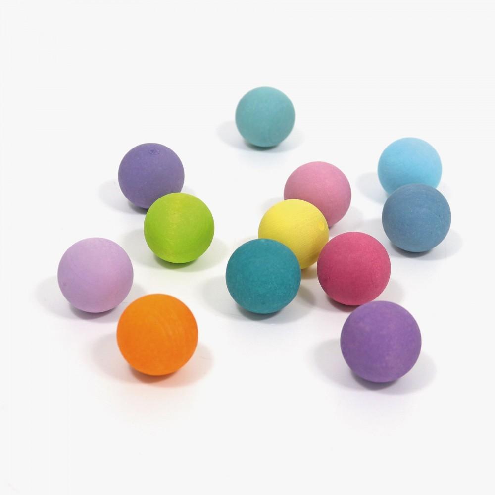 Grimms - 12 massive små kugler - pastelfarver