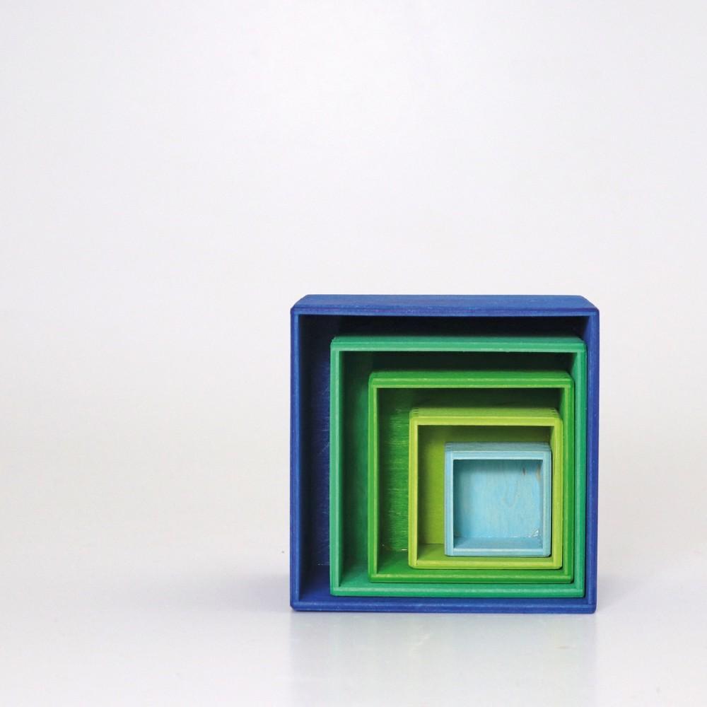 Grimms - stabelkasser - 5 dele - blå