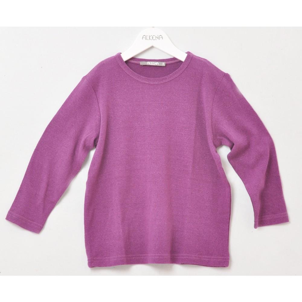 Alkena - langærmet bluse - større børn- bourette silke - mørk lilla