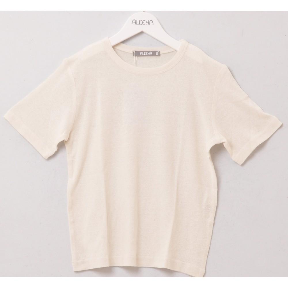 Alkena - kortærmet bluse - større børn- bourette silke - natur