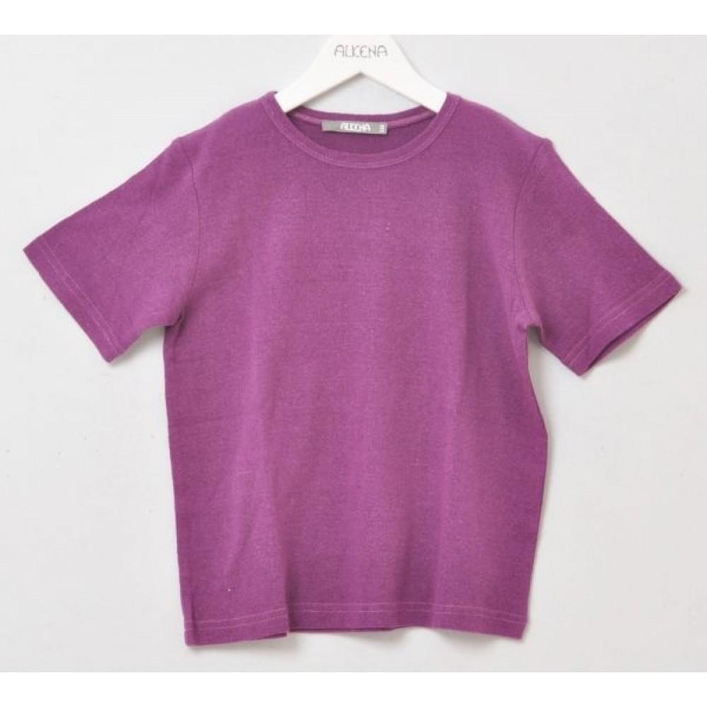 Alkena - kortærmet bluse - større børn- bourette silke - mørk lilla