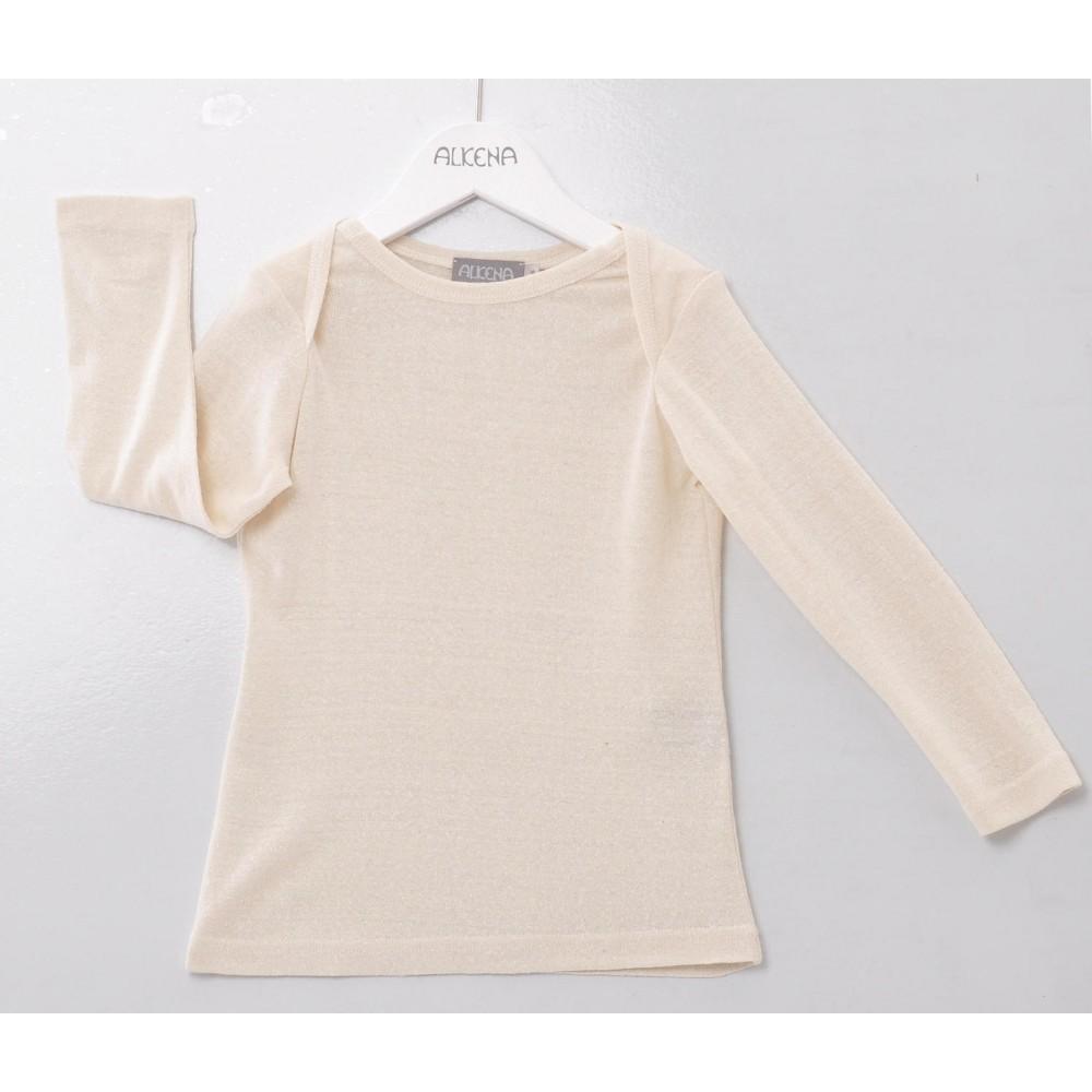 Alkena - langærmet bluse - bourette silke - natur