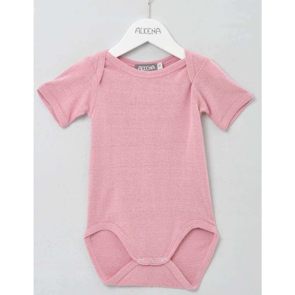 Alkena - kortærmet body - bourette silke - støvet rosa