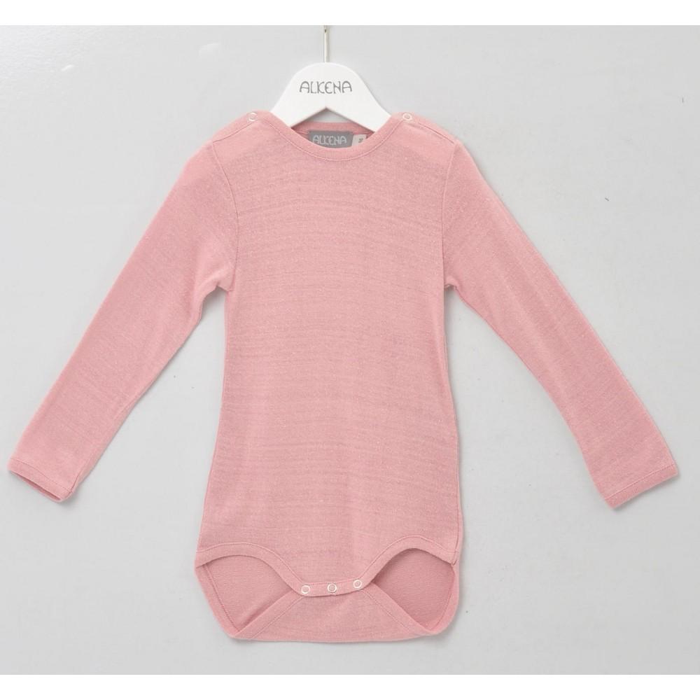 Alkena - langærmet body - bourette silke - støvet rosa