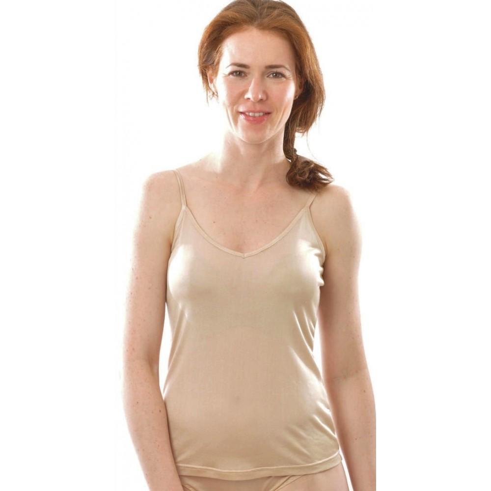 Alkena - top - økologisk silke - nude