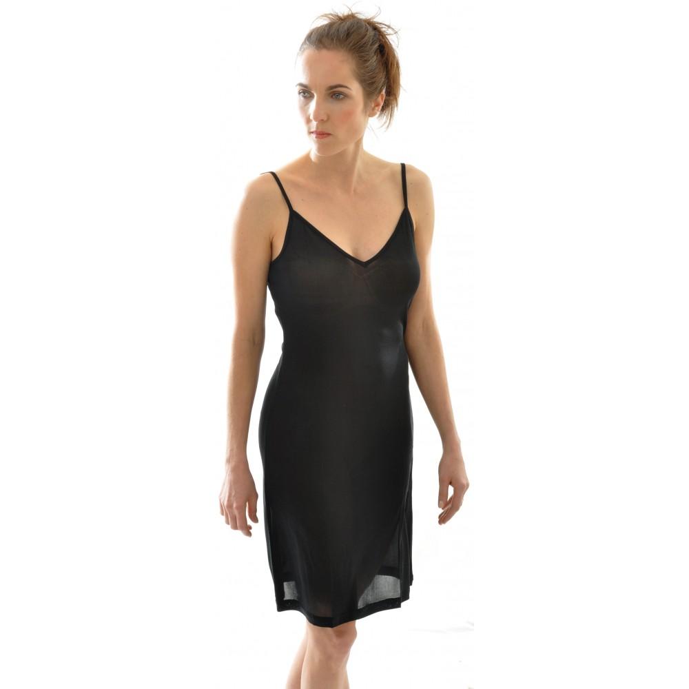 Alkena - underkjole/natkjole - økologisk silke - sort