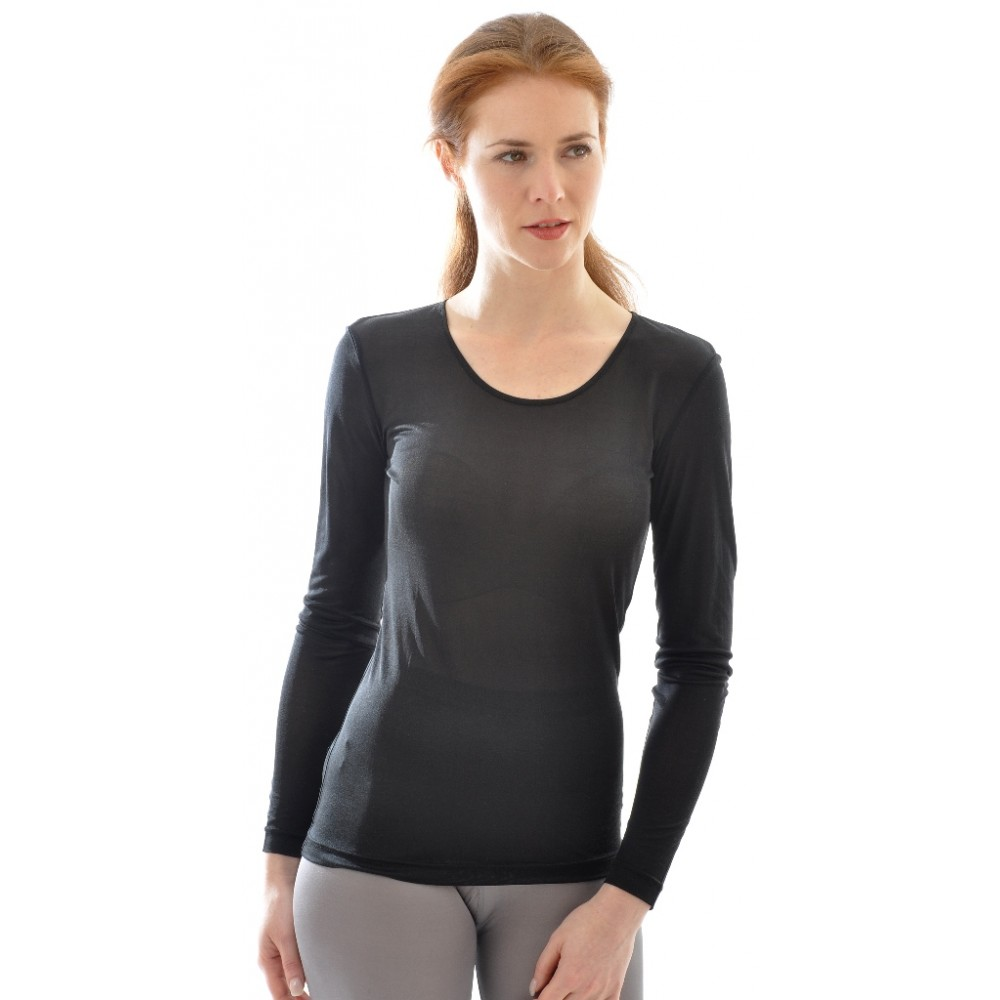 Alkena - langærmet t-shirt - økologisk silke - sort