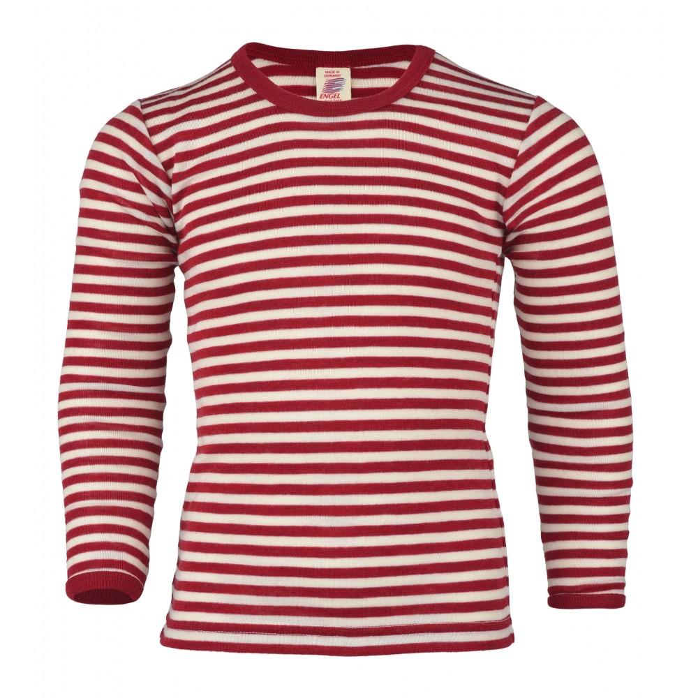Engel - langærmet bluse - uld - rød/natur