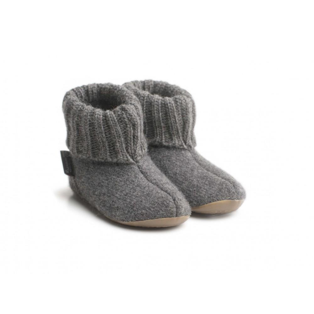 Haflinger - indesko - karlo - uld - naturgummisål - antracitgrå
