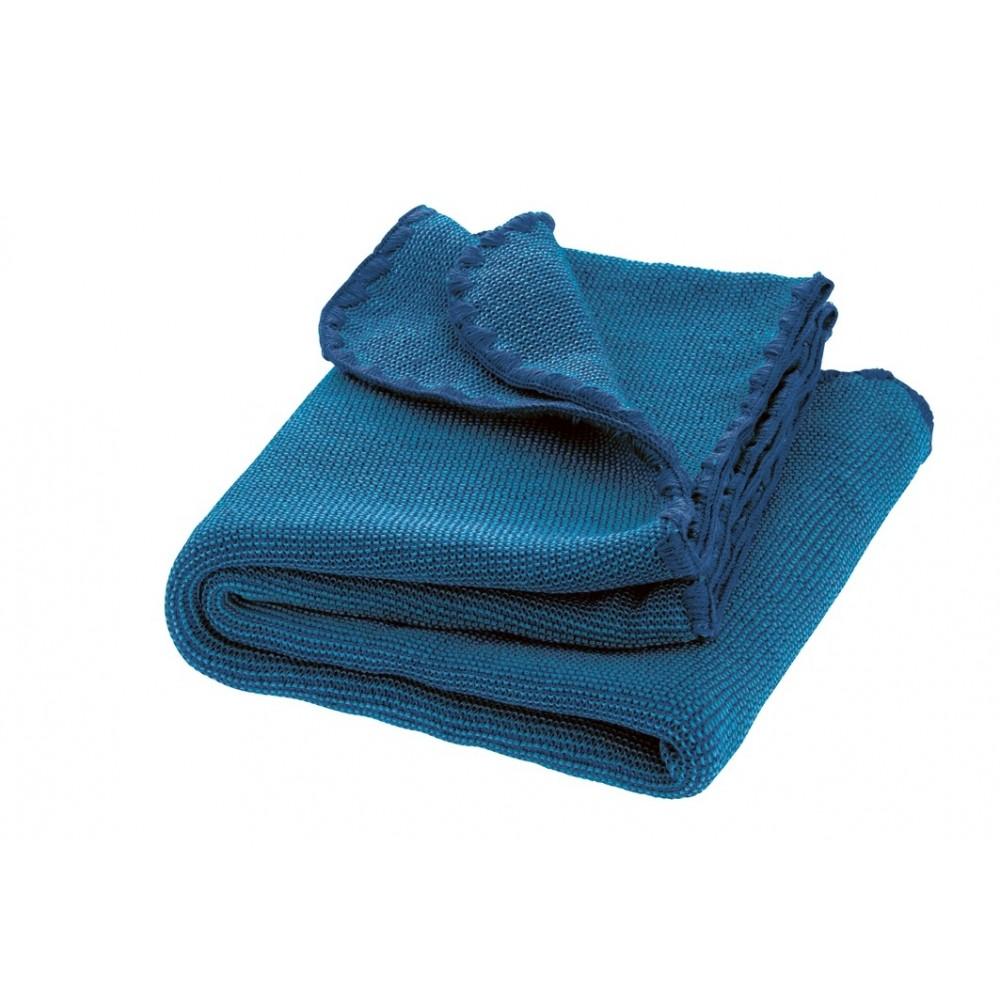 DISANA - babytæppe - økologisk uld - marine/blå melange