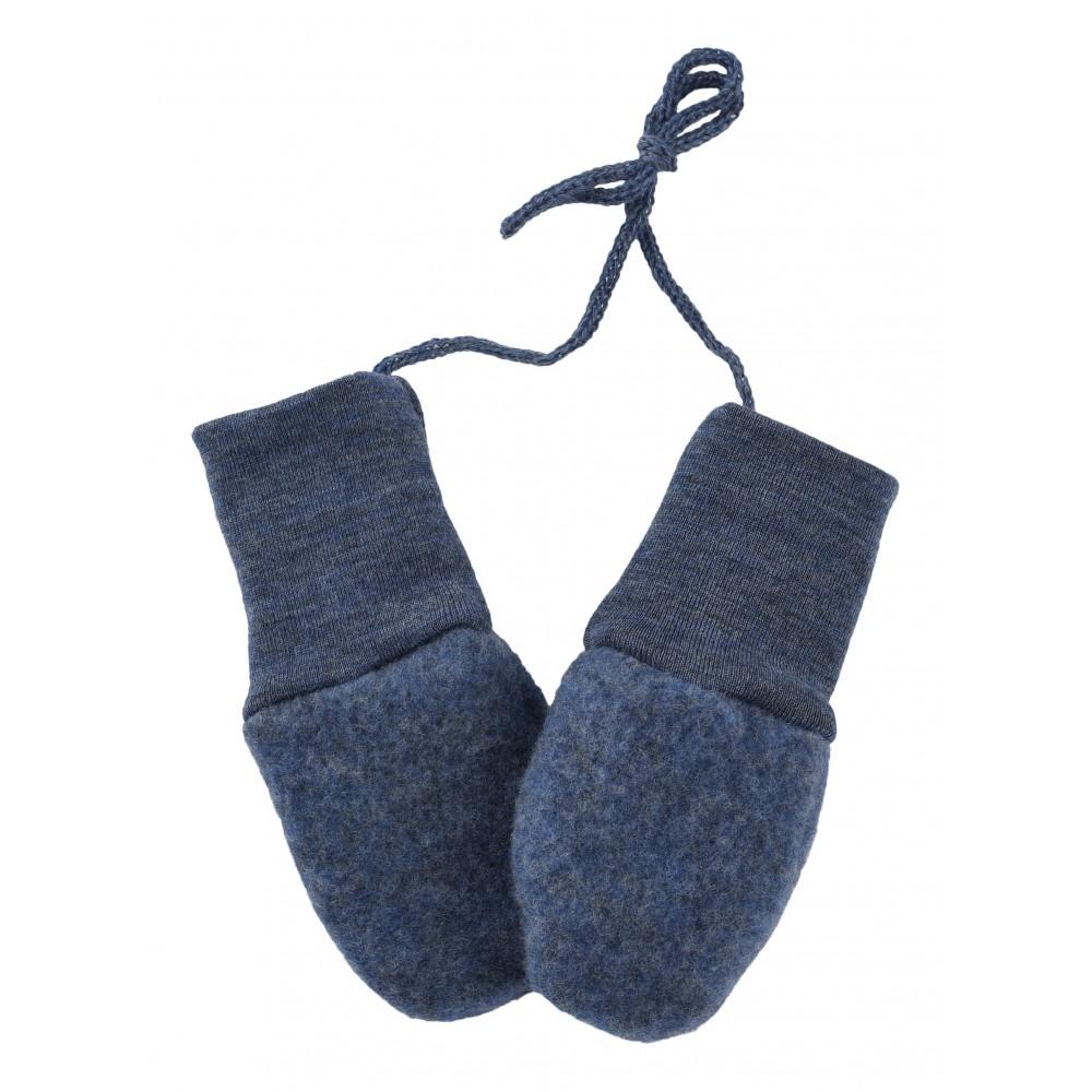 Engel | babyvanter i uldfleece | blå melange - one size