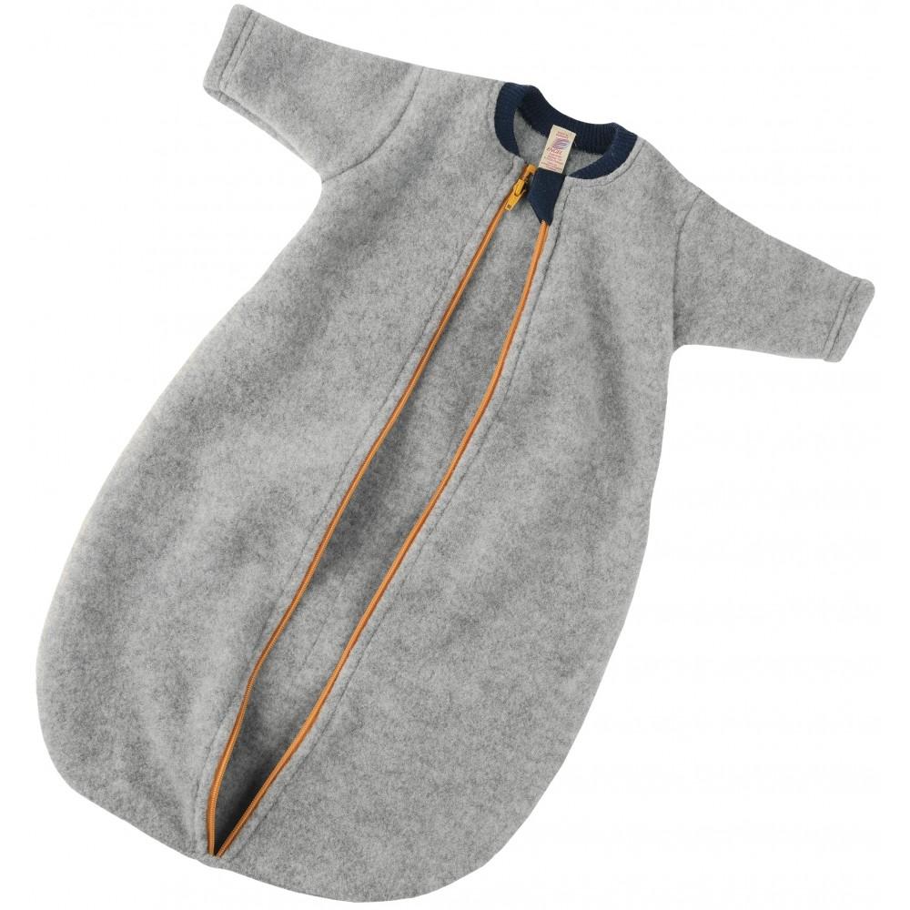 Engel - sovepose med lynlås - økologisk uldfleece - grå
