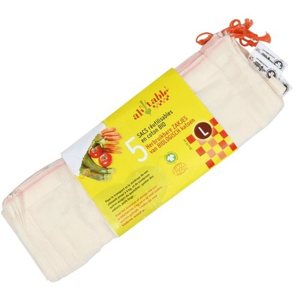 Ah! Table! - stofpose - økologisk bomuld - 5 stk. - L