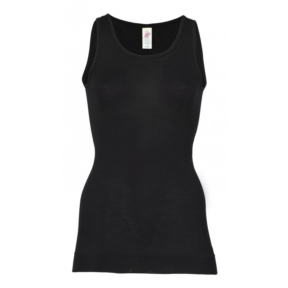 Engel - dame undertrøje med ekstra længde - uld & silke - sort