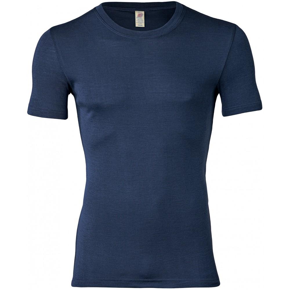 Engel - herre kortærmet t-shirt - uld & silke - marineblå