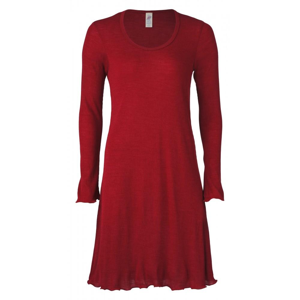 Engel - dame natkjole - uld & silke - rustrød