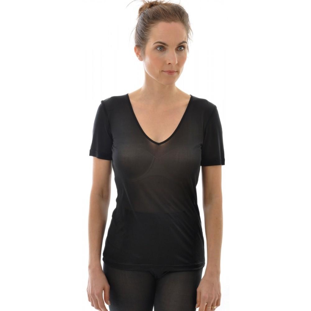 Alkena - kortærmet t-shirt - v-hals - økologisk silke - sort
