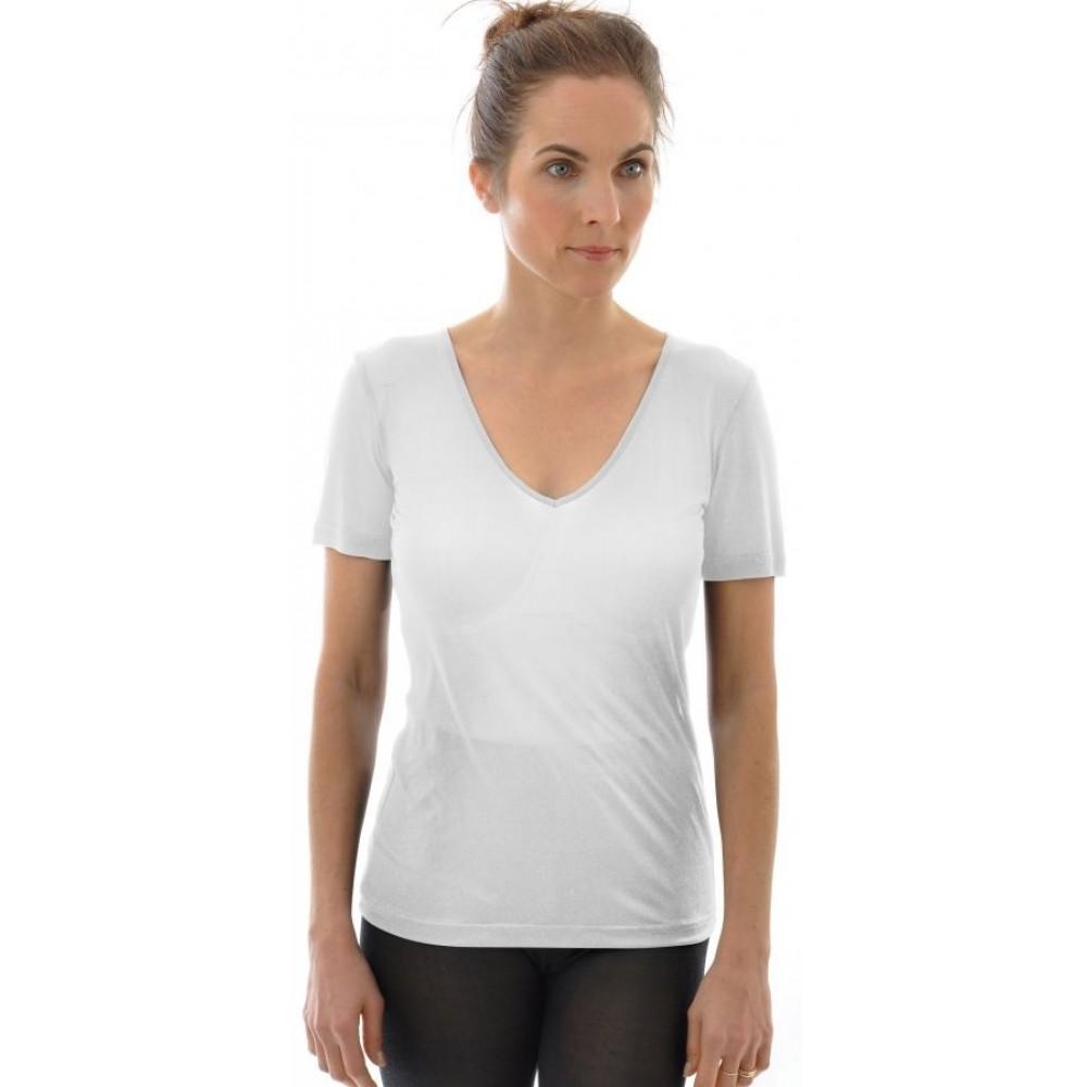 Alkena - kortærmet t-shirt - v-hals - økologisk silke - hvid