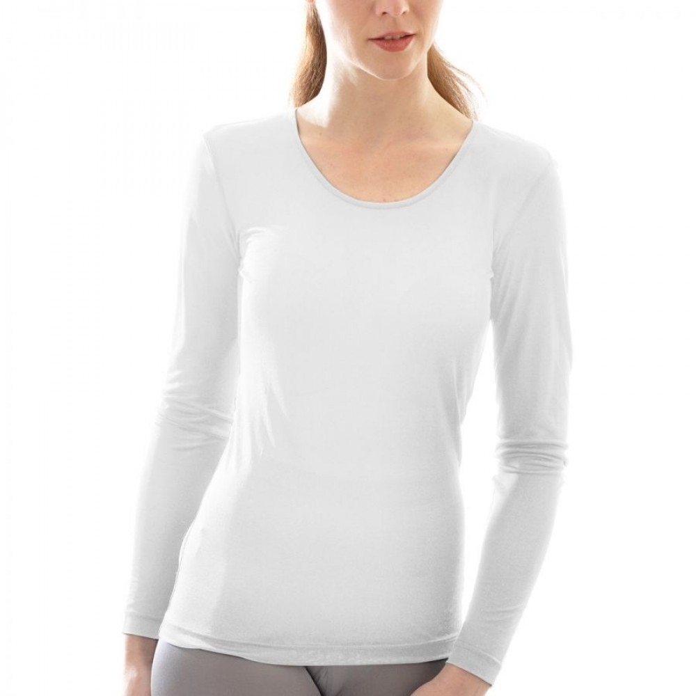 Alkena - langærmet t-shirt - økologisk silke - hvid