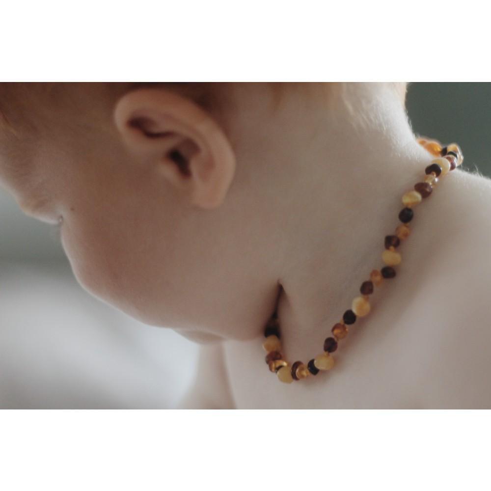 Rav halskæde - baby & barn - polerede - multi