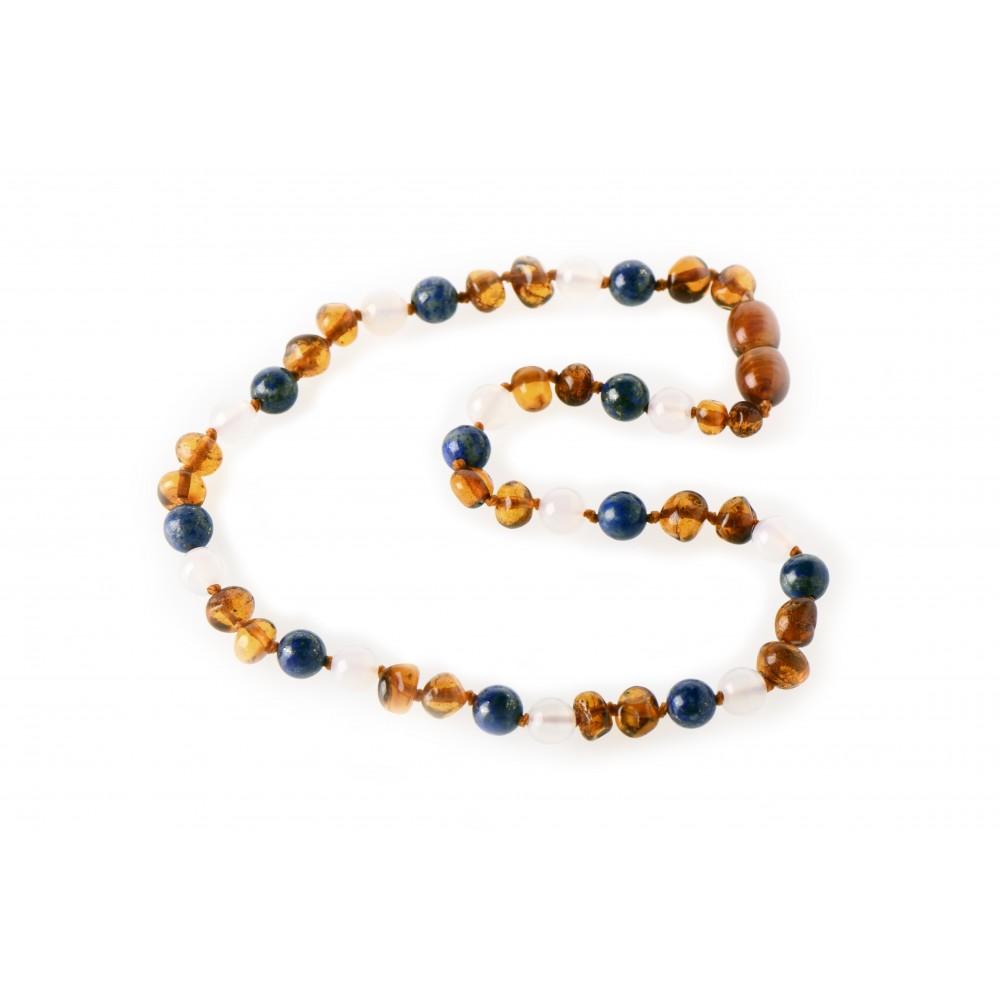 rav halskæde - større børn - rav/hvid agat/lapis lazuli