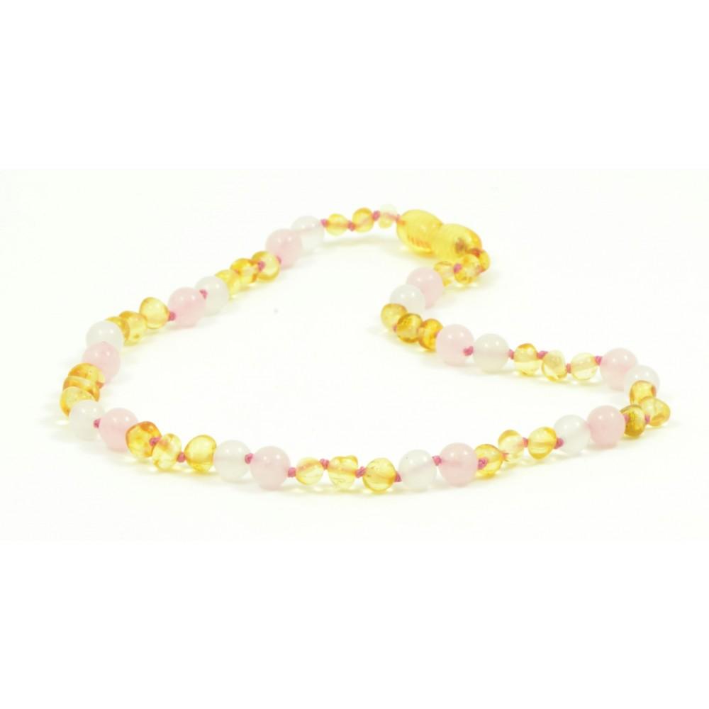 rav halskæde - større børn - rav/hvid agat/quartz