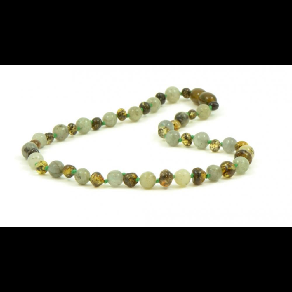 rav halskæde - større børn - green & labradorit