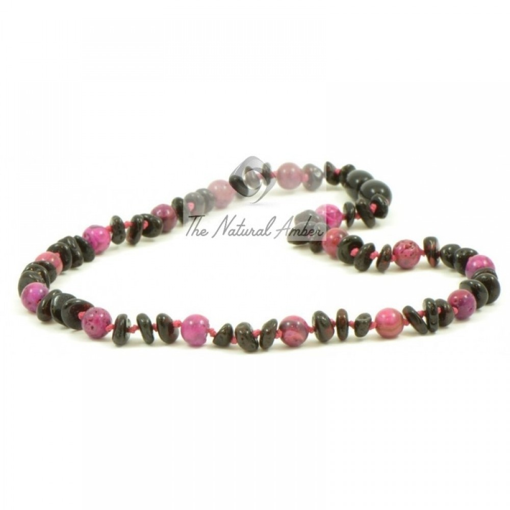 Rav halskæde - baby & barn - cherry & pink agat
