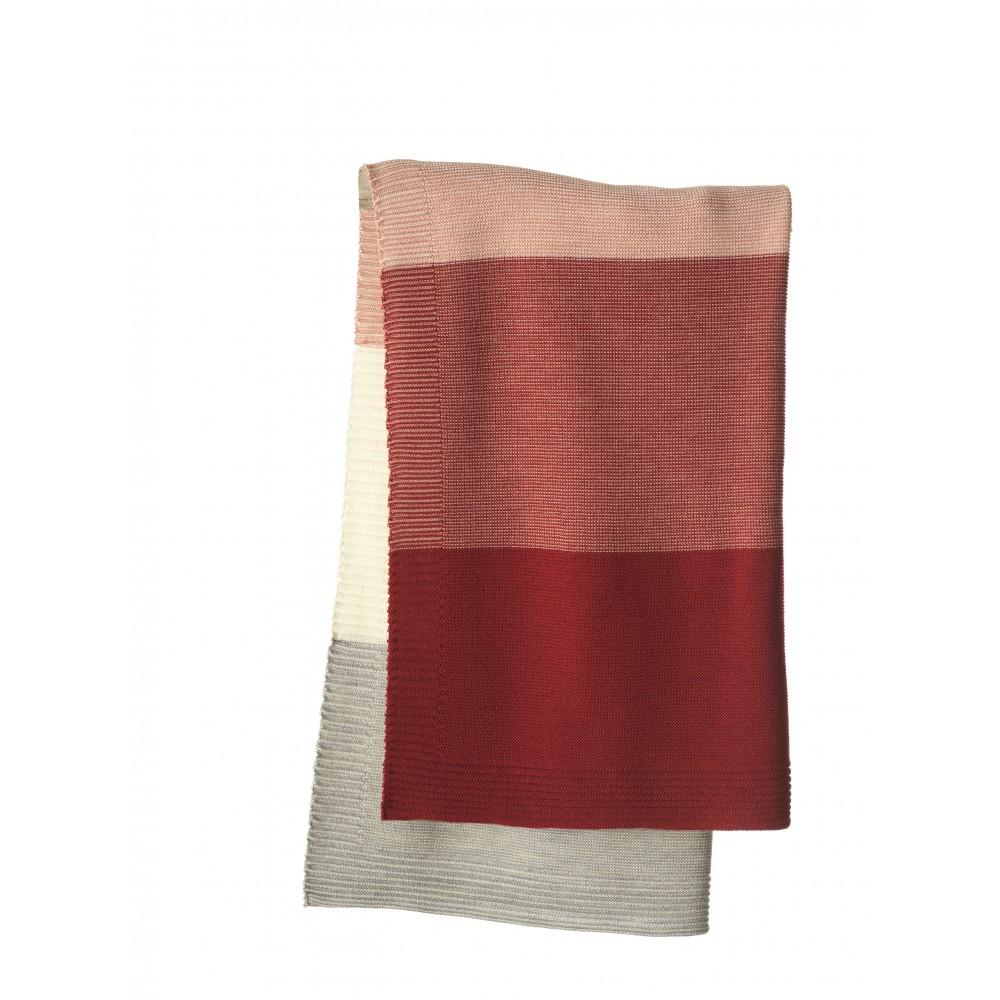 DISANA - babytæppe - økologisk uld - bordeaux/rosé stribet