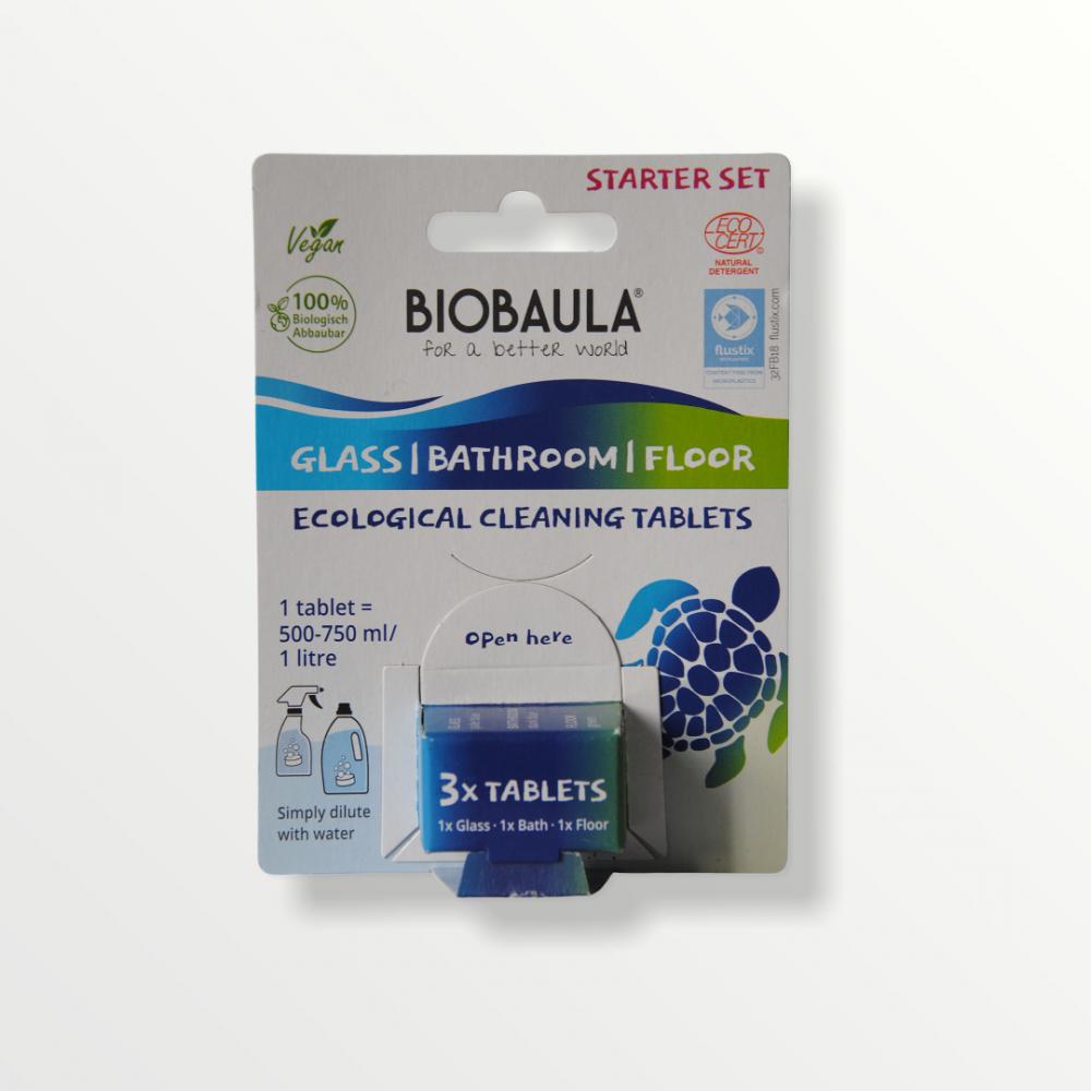 BioBaula - økologiske rengøringstabletter - starter sæt - glas-bad-gulvvask