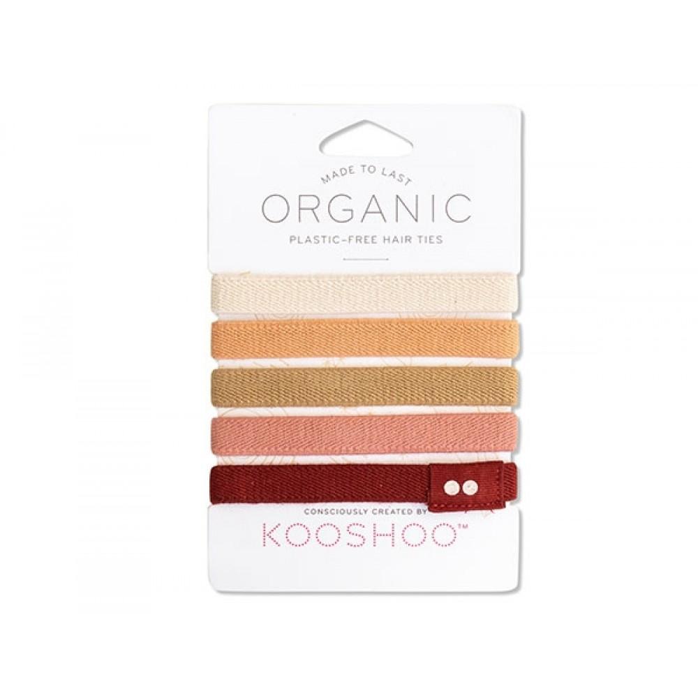 Kooshoo - økologiske hårelastikker - 5 stk. - ginger