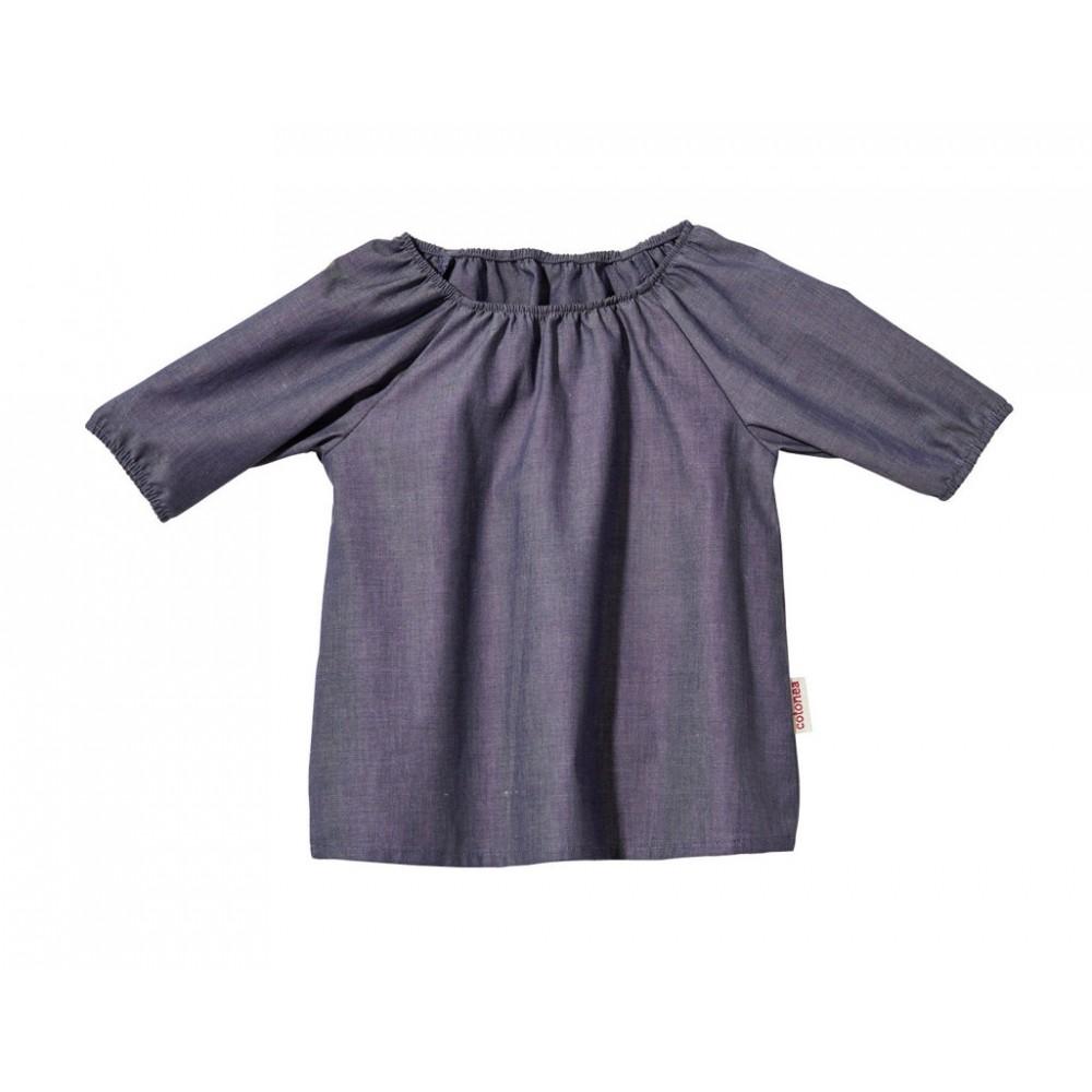 Cotonea - bluse med 3/4 ærme - chambray - gråblå