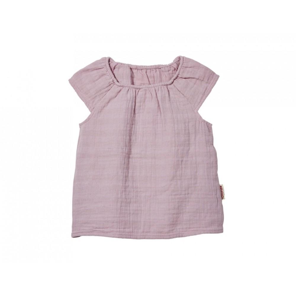 Cotonea - top med lille ærme - større børn - muslin - støvet rosa