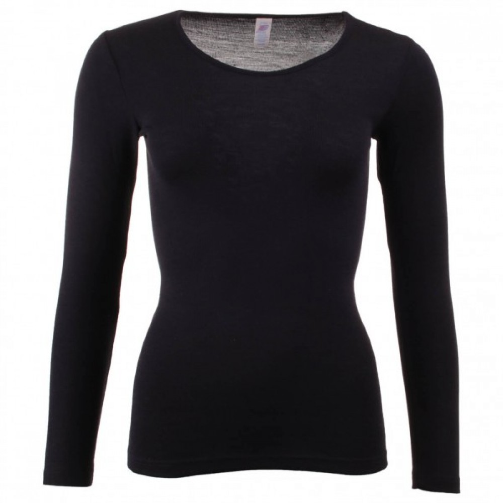 Engel - dame langærmet T-shirt - uld & silke - sort