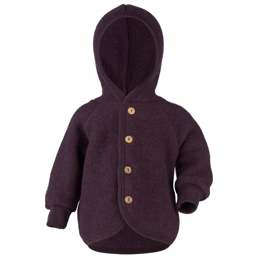 Engel - jakke med hætte i økologisk uldfleece - mørk lilla