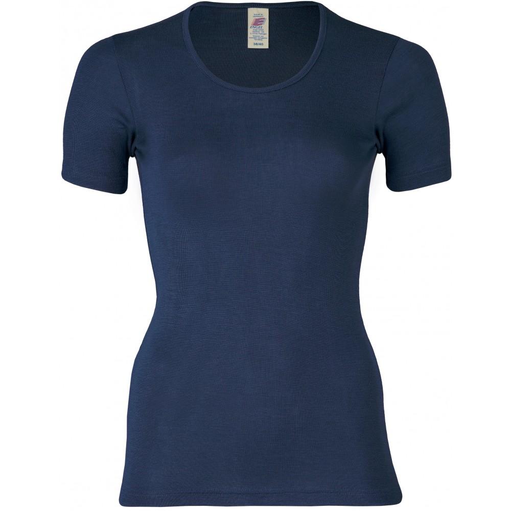 Engel - dame kortærmet t-shirt - uld & silke - marineblå