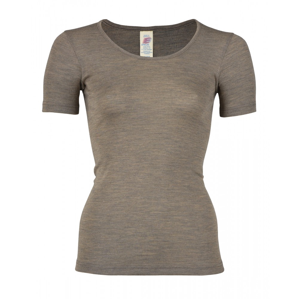 Engel - dame kortærmet t-shirt - uld & silke - valnød