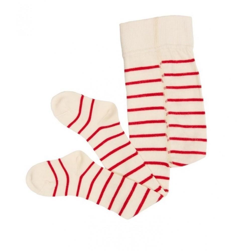 Grödo - baby strømpebukser - uld & bomuld - natur & rød