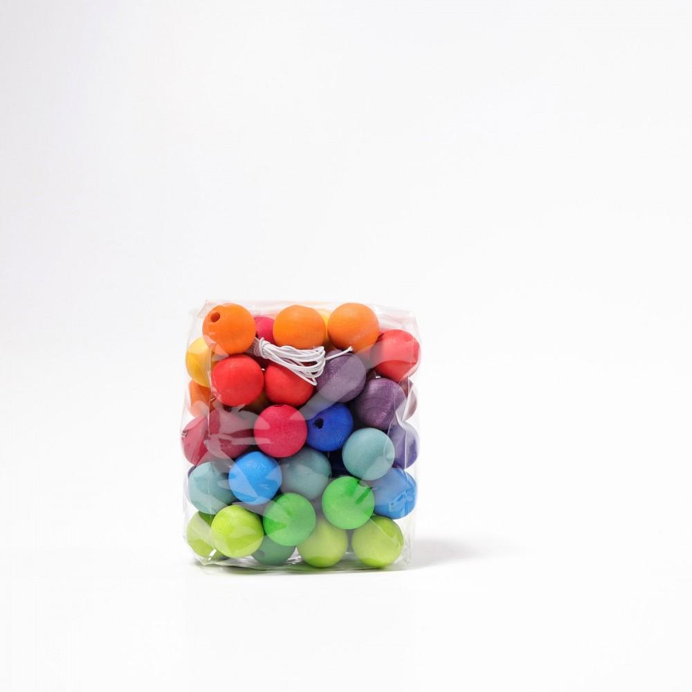 Grimms - træperler - klassiske farver - 60 stk.