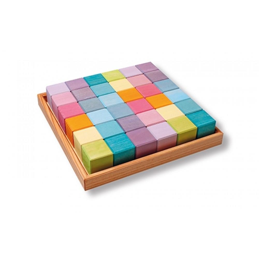 Grimms - 36 byggeklodser i trækasse - pastelfarver