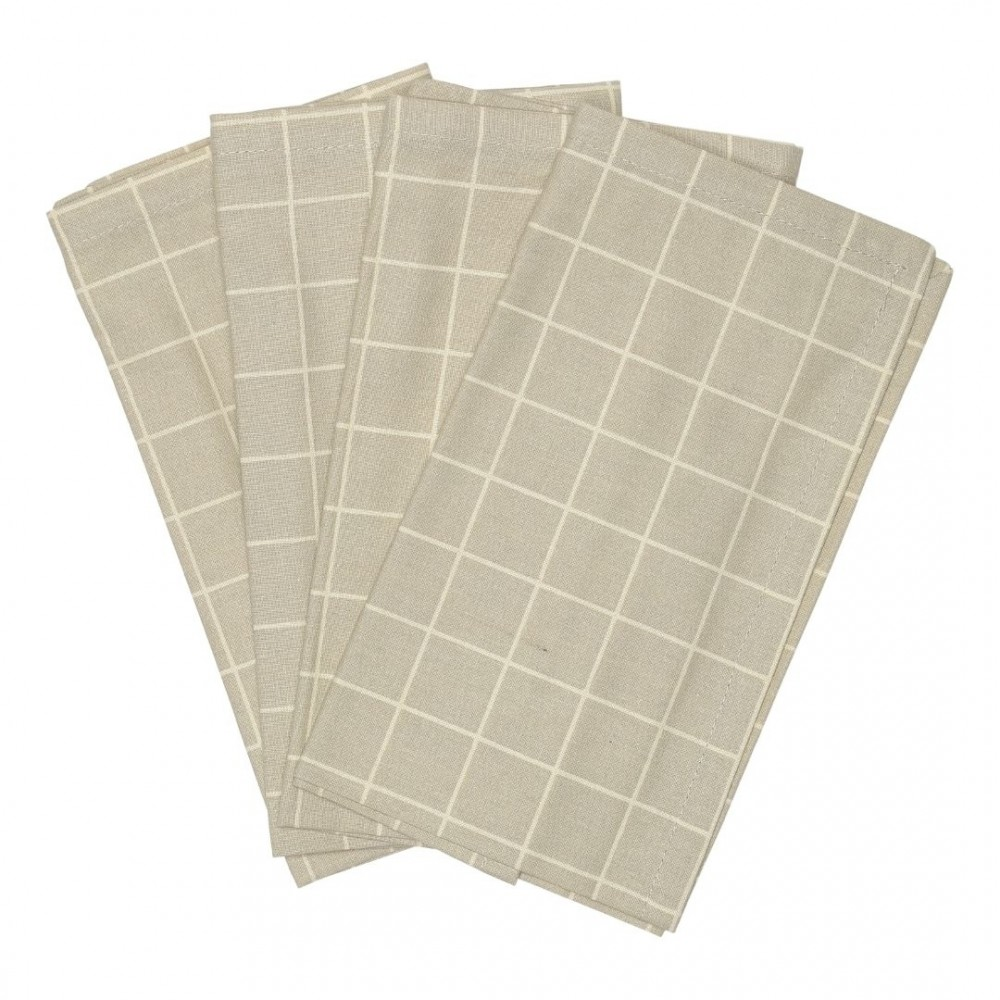 Haps Nordic - stofservietter - 4 stk. - oyster grey check