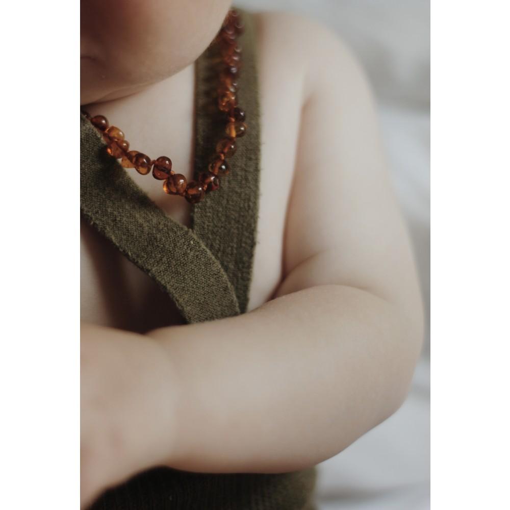 Rav halskæde - baby & barn - poleret cognac