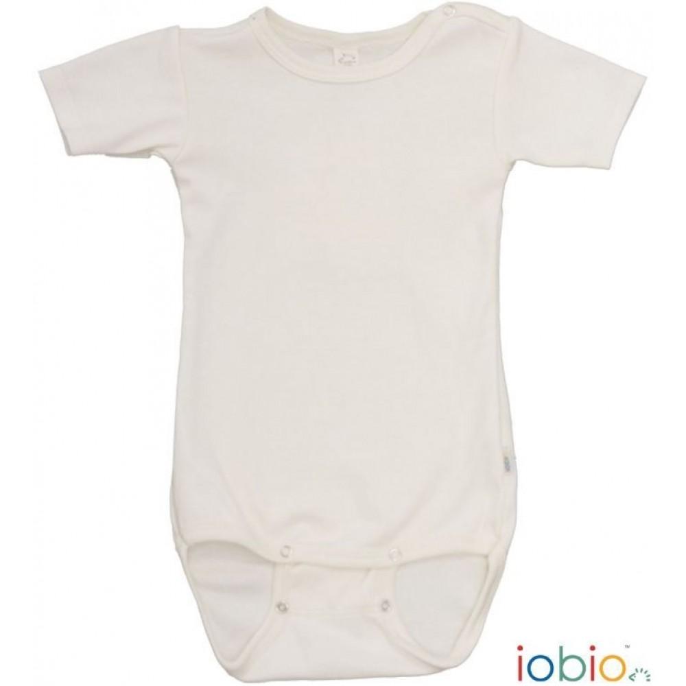 Iobio - kortærmet body - uld & silke GOTS - natur