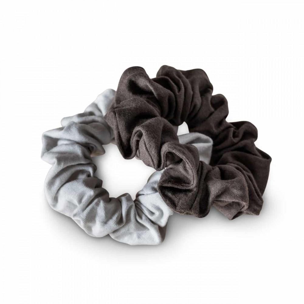 Kooshoo - økologiske hår scrunchie - lys og mørk grå