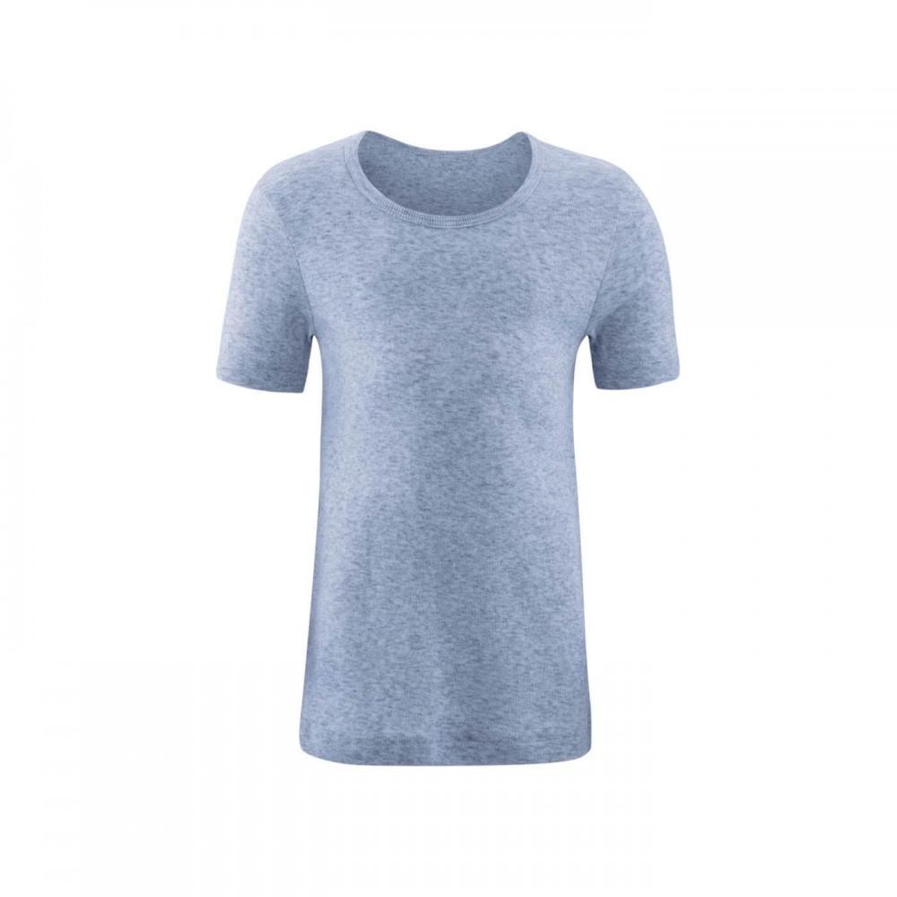 Living Crafts - kortærmet t-shirt - GOTS bomuld - blå melange