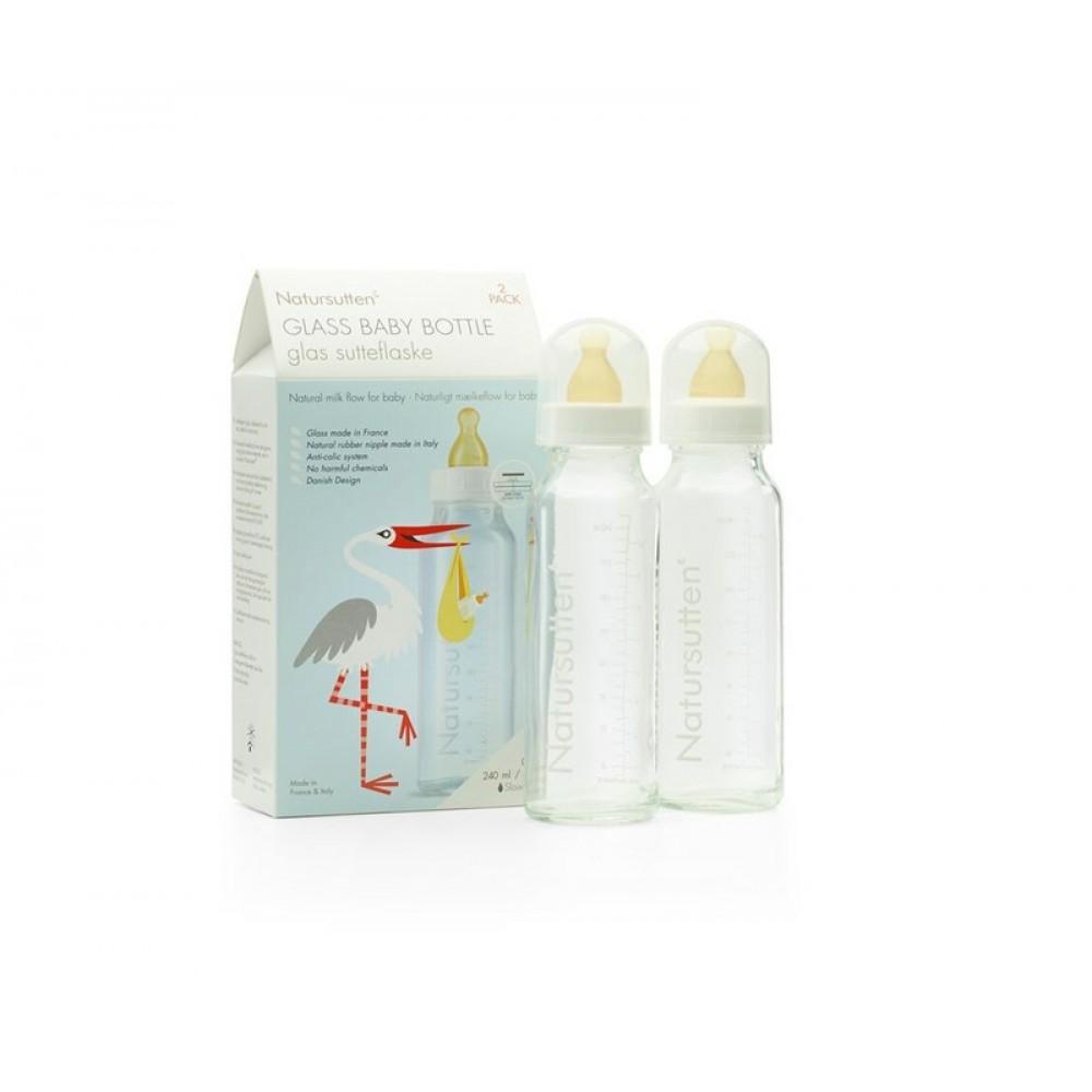 Natursutten® - glas sutteflasker 240 ml. - 2-pak