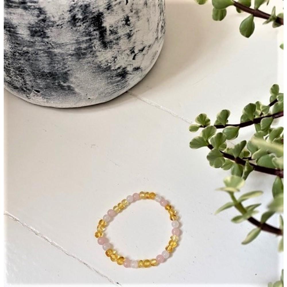 rav armbånd - voksen - rav-hvid agat & quartz - 18 cm.