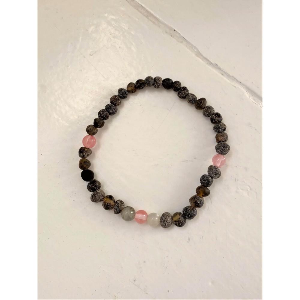rav armbånd - voksen - rav/månesten/quartz/labradorit - 20 cm.